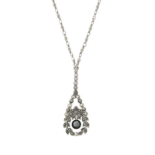 Silver-Tone Hematite Crystal Pearshape Drop Necklace 16 ()