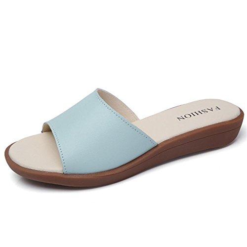 Verano sandalias de las señoras sandalias planas de la playa del patín plano 1