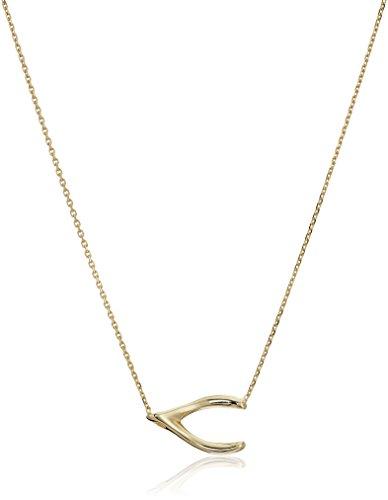 14k Yellow Gold Wishbone (14k Yellow Gold East 2 West Wishbone Necklace, Adjustable 16