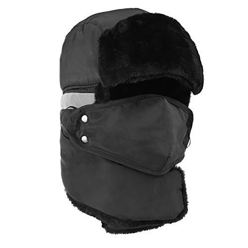 Winter Bomber Trapper Hats Ushanka - Men Women Russian Trooper Ear Flaps Hunting Face Masks Ski Snow Cold Weather Fur Mens Caps Clothes Black ()