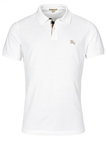 Burberry Brit Men's White Cotton Nova Check Placket Polo Shirt - Burberry Brit Logo