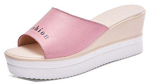 Mules 5cm Semelle Toe Mode Femme Peep Aisun Sandales 6 Rose Epaise BFUfpw77zq