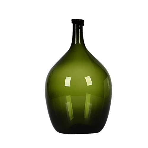 Narrow Neck Tall Round Hand Blown Solid Color Glass Vase (Olive (Hand Blown Olive)