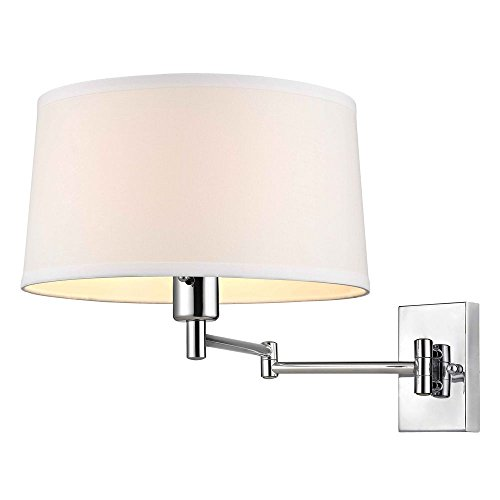 Chrome Swing-Arm Wall Lamp with White Drum Shade