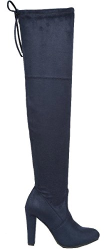 On Heel Navy Stacked Boot Link Thigh Forever Chunky Womens Stretch High Pull zIxTq