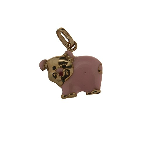 18 Kt Yellow Gold Enamel Pig Charm (12mm / 16mm with Bail) by Amalia