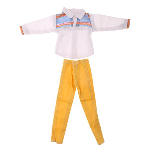 MagiDeal Comfortable Fabric Check/Plaid T-shirt Pants Set Clothes Outfit for Barbie Boy-friend Ken Other Same Size Man Dolls