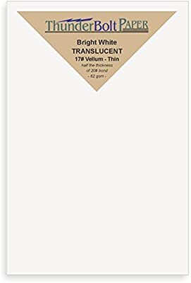 "100 Bright White Translucent 17# Thin Sheets - 4"" X 6"" (4X6 Inches) Photo
