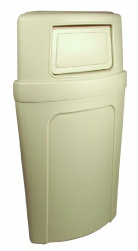 Continental Round Trash Can - Continental 8325BE, Corner Round Beige Plastic Dome Receptacle with Unique Bag Holder, 21 gallon Capacity (Case of 1)