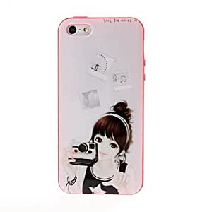 AES - Beauty Girl with Camera Tpu Soft Gel Back Case Cover Red Frame for iPhone 5/5S