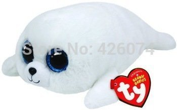 Original TY Beanie Boos Icy the Seal Big Eyed Plush Toys 15CM Kids Stuffed Animals Toys For Children - Baby Seal White