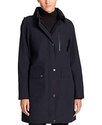 DKNY Women's Hooded Water-Resistant Raincoat Style Navy ()