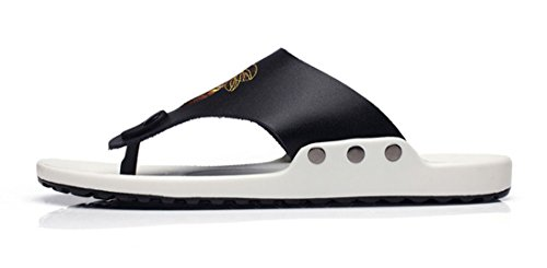 Black Beach Casual Men's TDA Slippers Flops Summer Slip Flip Leather on wxT1n1vqA