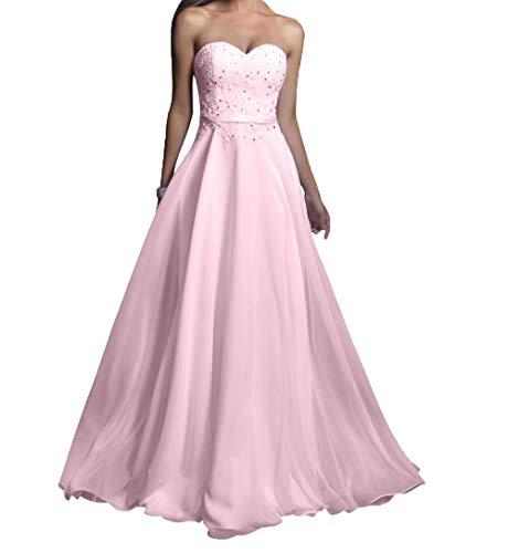 Lang Damen Charmant Abendkleider Partykleider Spitze Chiffon Rosa Abschlussballkleider Rosa Promkleider ZfPZprq