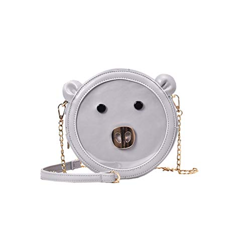 Women's Animals Pig Shape Shoulder Bag Leather Cute Purse Round Bags with Metal Chain Shoulder Strap