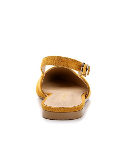 ComeShun Womens Shoes Yellow Buckle Flats Adjustable Slingback Sandals Suede Pumps Size 8 by ComeShun (Image #5)