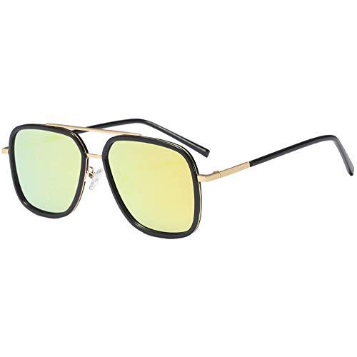 de Rectangular Plaza Gafas de 100 Plateado Mens Polarizado Aleacion sol UV Hombres Gafas sol Proteccion Y5xR5q