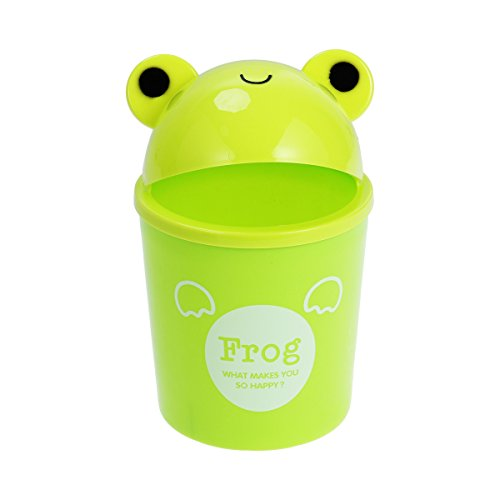 (Toyvian Mini Trash Can with Lid - Cute Animal Desktops Trash Can, Rubbish Storage, Garbage Bin for Office Kids Bedroom Use (Frog))