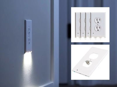 Outlet Wall Plate with LED Night Lights by Marquee Innovations | 4 Pack | No Wires or Battery Needed – Fast Install | Duplex, White by Marquee Innovations (Image #5)