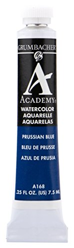 (Grumbacher Academy Watercolor Paint, 7.5ml/0.25 Ounce, Prussian Blue (A168))