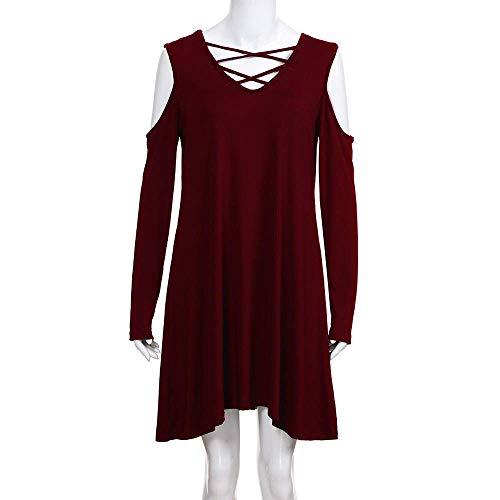 Dress Larga Mujer Con Bolsillo Sólido Camiseta Vestido Vestidos V Cuello Vetement En Mangas Frío De Basic Manga Hombro Swing Sin Por Loose Winered Color Casual wtx8qC5xf