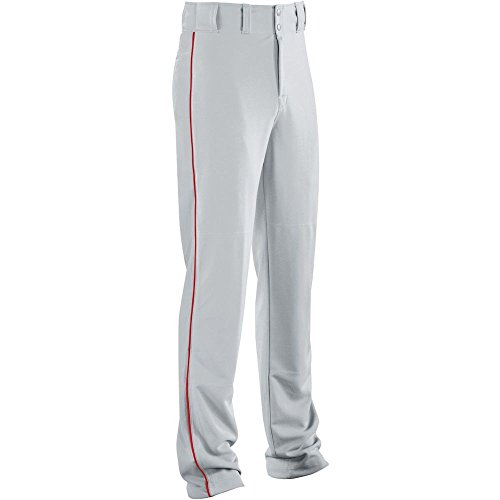 - High Five Piped Classic Double-Knit Baseball Pant-Youth,Silver Grey/Scarlet,X-Large