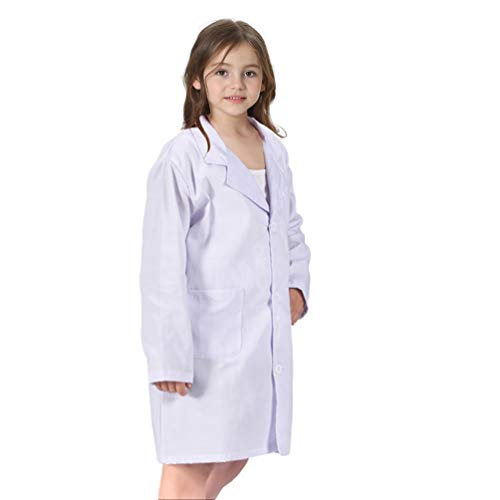 CalorMixs America Kids Unisex Doctor Lab Coat & Childrens Doctor Scrub Set Role Play Costume Dress-Up for Christmas Halloween (Small, White)