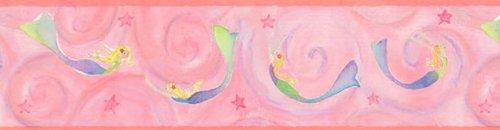 Pink Mermaids Ocean Prepasted Wallpaper Border Roll by Store51