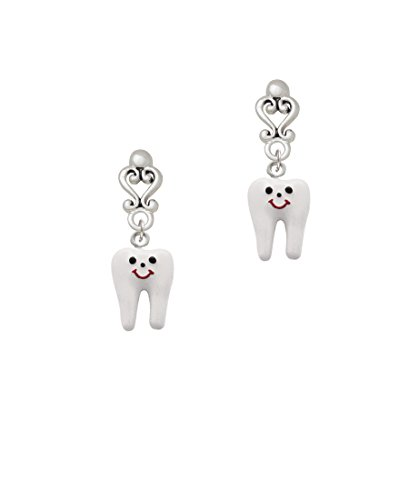 Enamel Tooth - Filigree Heart Earrings