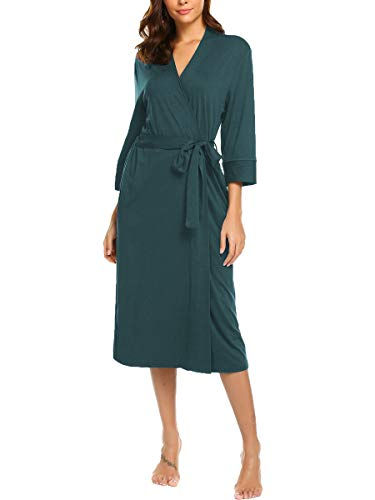 BLUETIME Womens Robe Knit Bathrobe Sleepwear Loungewear Lightweight Kimono Robes Long (XXL, Dark Green)