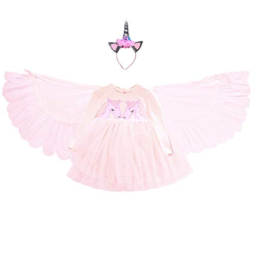 Girls Flower Unicorn Wings Angel Tutu Fairy Costume Princess Dress up Birthday Pageant Party Wedding Dance Outfits ()