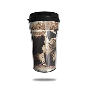 HJGKFL Black White Border Collie Ice Coffee Small Coffee Cup Carrying Hand Cup Reusable Plastic Curve Travel Cup Coffee Cup Asymmetric Men Children Teen Adult 7