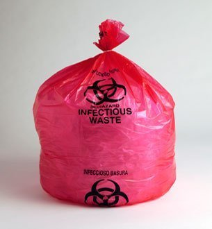 11'' x 14'' 1.5 MIL (02 Gallon) Low Density RED Infectious Biohazard Waste Liner Bags, 1000/Case