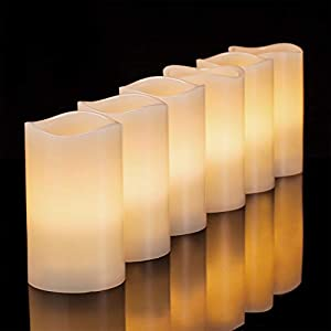 Flameless Candles Battery Operated Pillar Real Wax Flickering Electric LED Candle Gift Sets with Remote Control Cycling 24 Hours Timer by Aku Tonpa, 3″x5″ Pack of 6