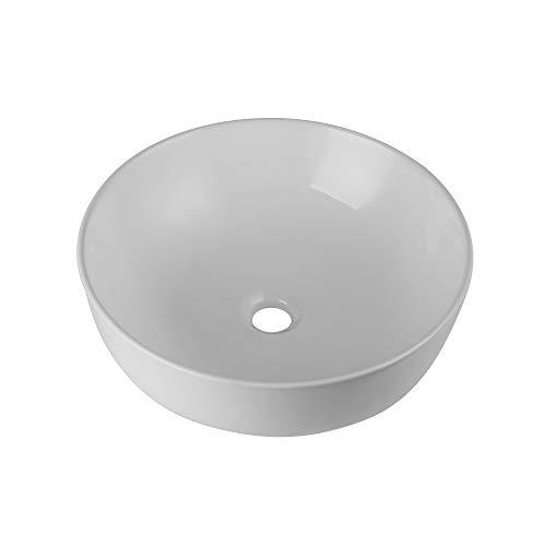 Round Vessle Sink Above Counter Sink 16 Inch Kitchen Sink Ceramic - Bathroom Vanity Bowl Art Basin YIFO Fireclay Farmhouse Sink White