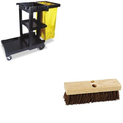 KITBWK3110RCP617388BK - Value Kit - Boardwalk Deck Brush Head (BWK3110) and Rubbermaid Cleaning Cart with Zippered Yellow Vinyl Bag, Black (RCP617388BK) by Boardwalk