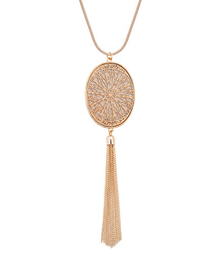 MOLOCH Long Necklaces for Woman Disk Circle Pendant Necklaces Tassel Fringe Necklace Set Statement Pendant (Oval-Shaped-Gold)
