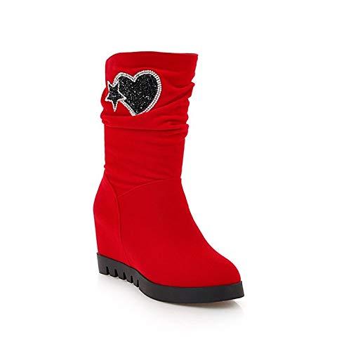 IWxez compensé Bottes Mode Femme Bottes d'hiver synthétiques Talon compensé IWxez à Bout Rond Bottes mi-Mollet Noir/Bleu foncé/Rouge / Fête et soirée 35 EU|Red 77598d