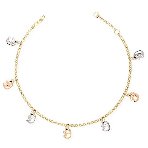 14k Yellow Gold White Gold Tri-Color Gold Elephant Charm Hollow Anklet Bracelet 9