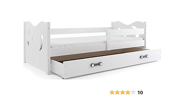 Cuna para niño Nicolò 160 x 80 cm, cama con cómoda, para dormitorio de niños y jóvenes, colchón de esponja incluido.