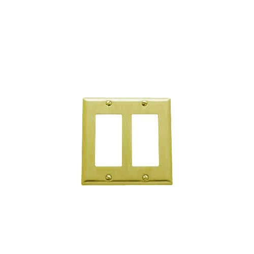 Baldwin 4741.030.CD Classic Square Beveled Edge Double GFCI Switch Plate, Polished Brass - Lacquered - Cover Solid Brass Switchplate