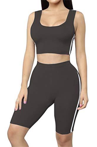 (Women's Tank Crop top Short Pants Two Pieces Outfit Casual Sport Set Black)