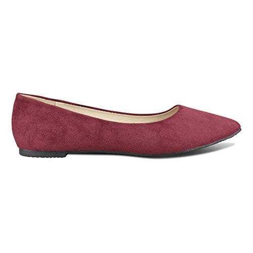 Toe Comfortable Ballet Slip Standard Suede On Ballerina Classic Walking Premier Flats Burgundy Toe Women's Su Pointy Closed n6FxIUIPq