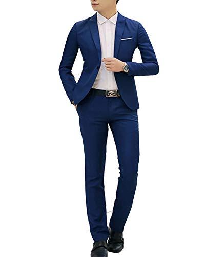 Homme Mariage D'affaire Veste Costume Fit Slim Pièces Pantalon Bleu1 Deux TRqWdEwnw