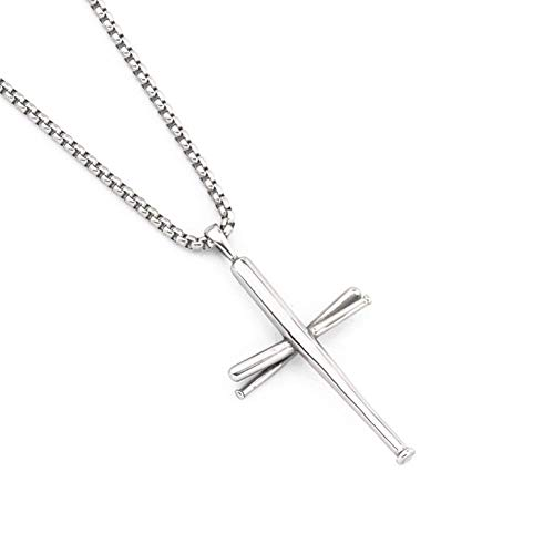 AB Max Cross Necklace Baseball Bats - Stainless Steel Athletes Cross Pendant Sports Necklaces Gifts for Men Women Teen Boys Girls (Stainless Steel)