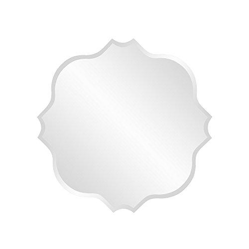 Howard Elliott Square Scalloped Frameless Mirror, Beveled Edge Accent Mirror ()