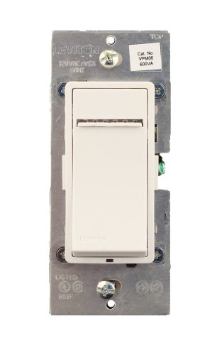 600va Magnetic Low Voltage Dimmer (Leviton VPM06-1LX, Vizia + Digital 600VA (450W) Magnetic Low Voltage Dimmer, Single Pole and 3-Way, White/Ivory/Almond)