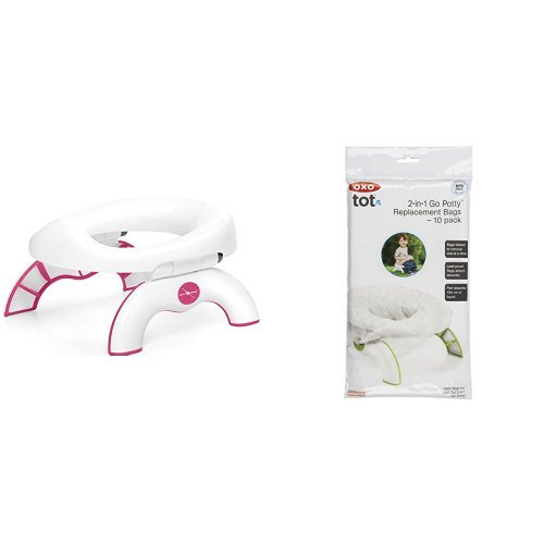 OXO Tot 2-in-1 Go Potty for Travel in Pink and Go Potty Refill Bags, 10 Count OXOA9