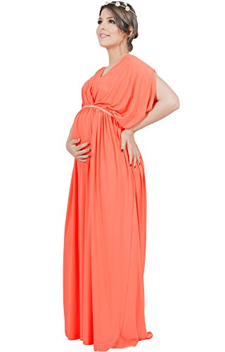 KOH KOH Plus Size Womens Long Grecian Short Sleeve Maternity Baby Shower Pregnancy Pregnant Bridesmaid Summer Stretchy Flowy Cute Dressy Gown Gowns Maxi Dress Dresses, Coral 4XL 26-28