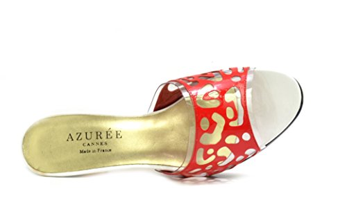 AZUREE Cannes Women's Naouli Cut-Out Design Slip On Mules H 1 Red 4YdLkCpMog